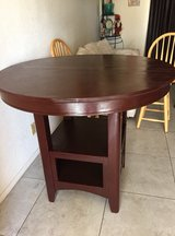 Dark brown tall table in Yucca Valley, California