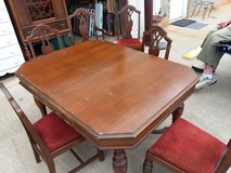 Antique Dining Room Table with Leaf and Six Chairs in Warner Robins, Georgia