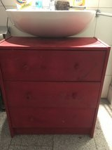 Wooden red stand with 3 drawers in Stuttgart, GE
