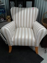 Chair upholstered in white and tan stripes in Camp Lejeune, North Carolina