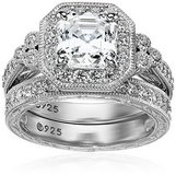 TODAY ONLY***BRAND NEW***POSITIVELY GORGEOUS Platinum Sterling Silver Asscher-Cut CZ Ring Set in Cleveland, Texas
