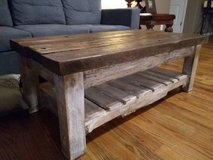 Farm table style coffee table and end tables in Manhattan, Kansas