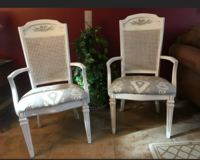 Pair of cane back arm chairs in Plainfield, Illinois