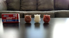 set of 3 small owl candles in Watertown, New York