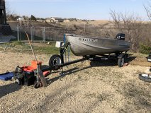 14 ft aluminum V hull boat with 25 HP Mercury 4 stroke engine in Fort Riley, Kansas