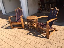 Wine barrel Adirondack chairs in Fort Campbell, Kentucky