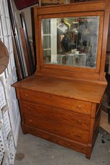 Antique Oak Chest & Mirror in Wilmington, North Carolina