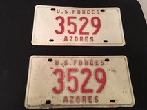 1960s US Forces in Azores License Plates - Set of matching plates in Bolling AFB, DC