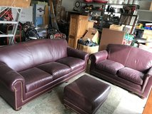Leather Couch, Love Seat, and Ottoman in Aurora, Illinois