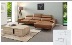 United Furniture - Freiburg Leather Sectional  - in Cognac (as shown)  - including delivery in Spangdahlem, Germany