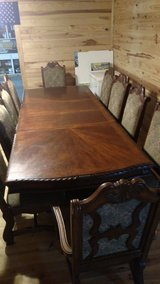 Mahogany Farmhouse Dining room table 9' with 10 chairs in Beaufort, South Carolina