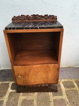 charming vintage sidetable nightstand marple top carvings France in Ramstein, Germany
