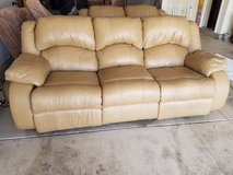 Tan leather sofa in Colorado Springs, Colorado