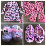 Two girls kitten pajamas size 7/8 & 8 and two pairs of slippers- beanie boo/unicorn stompeez in Perry, Georgia