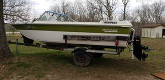 73 17 Ft fglas starcraft boat with trailer and motor. in Fort Leonard Wood, Missouri