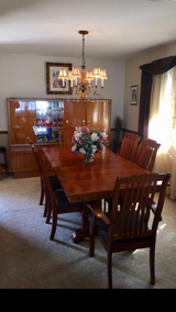 Dining table & chairs, china wall unit. in Orland Park, Illinois