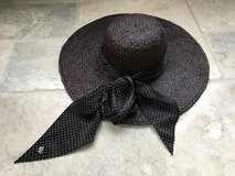 Women's Black Ralph Lauren Straw Sun Hat with Wide Brim and Bow in Naperville, Illinois