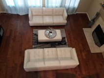 100% white leather sofas and bench with wooden legs in Spring, Texas