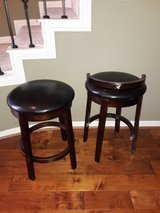 Backless  faux leather and wood bar stools in Spring, Texas