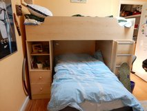 TWIN SIZE BUNK BEDS WITH DESK AND 2 MATTRESSES in Cherry Point, North Carolina