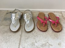 2 Pairs of Girls (Teen) Brand Name Sandals Size 5 (Pink and Silver) in Batavia, Illinois