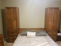 Solid American Oak bedroom suite + Queen sized Pillowtop mattress set in Fort Rucker, Alabama