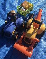 ELC tractors with farmer and animals in Lakenheath, UK