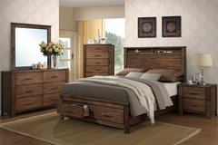 RUSTIC QUEEN SIZE STORAGE BED FREE DELIVERY in Huntington Beach, California