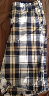 Boys size 16 navy blue tan plaid shorts Faded Glory in Fort Riley, Kansas