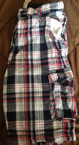 Boys size 16 navy blue red white plaid shorts Faded glory in Fort Riley, Kansas