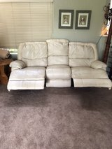 Cream Colored Leather Couch with Recliners in Travis AFB, California