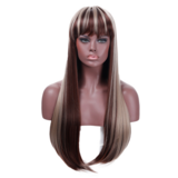 Wigs With Bangs Heat Resistant Blonde Mix Color Long straight hair in Las Vegas, Nevada