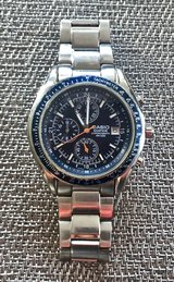 CASIO Chronograph Silver Stainless Steel Watch with Blue Face in Okinawa, Japan