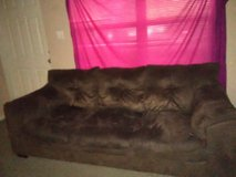 Dark Brown soft suade couch. in Beaufort, South Carolina