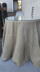 Table with burlap table cloth in Vacaville, California