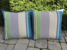 "Pair of 22"" Indoor / Outdoor Pillows from Pottery Barn: Green/Blue/Brown in Naperville, Illinois"