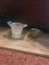 two pieces of Dugan carnival glass in Fort Leonard Wood, Missouri