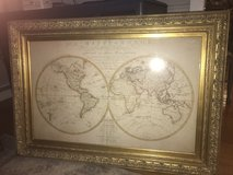 Beautiful Large Gold Frame With Map Picture in Wheaton, Illinois