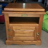 NICE White Clad Vintage Oak Ice Box Cabinet With Revolving Top TV Stand End Table in Baytown, Texas