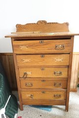 Tall oak antique dresser in DeKalb, Illinois