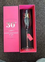30th birthday champagne flute with gems in stem, new in Lakenheath, UK
