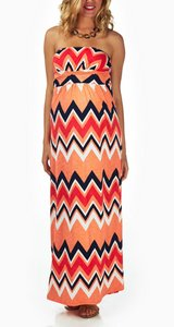 Orange chevron draped strapless maternity dress in Fort Knox, Kentucky
