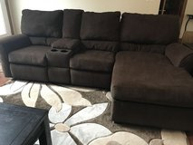 Brown power recliner couch in Yorkville, Illinois