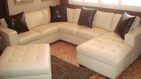 4 piece White Leather Living room set in El Paso, Texas