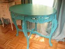 shabby chic carved gorgeous green vintage table in St. Charles, Illinois