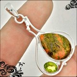 New - Unakite Gemstone and Peridot 925 Sterling Silver Pendant (Includes a chain) in Alamogordo, New Mexico