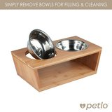 Petlo Elevated Dog and Cat Bamboo Pet Feeder, Double Bowl Raised Stand Comes with Two Stainless ... in Chicago, Illinois