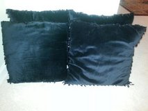 4 Designer Plush Black Pillows with Fancy Beads/Like New/Soft to Touch. in Joliet, Illinois