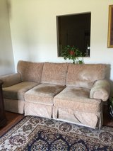 Beige Couch with ottoman in Warner Robins, Georgia