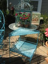 vintage turquoise iron table in St. Charles, Illinois